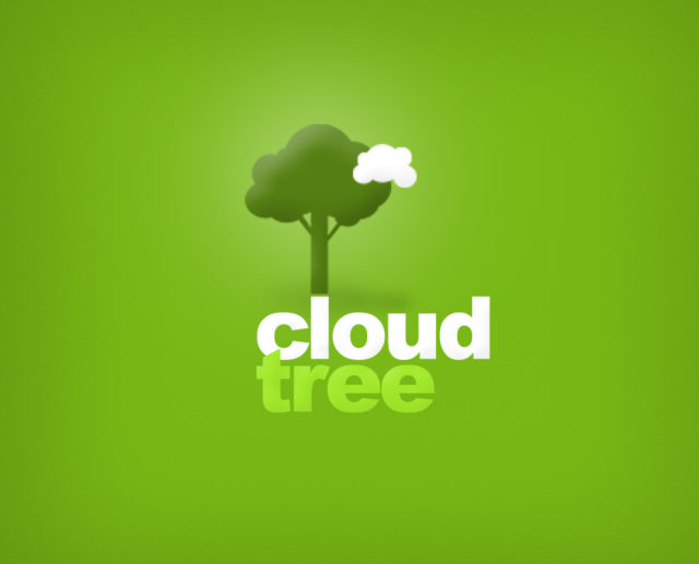 plant tree cloud free logo design