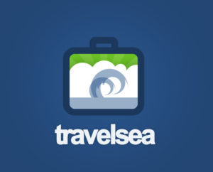 travel sea logo design psd and vector